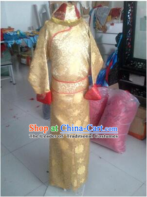 Children Qing Dynasty Dress Official Costumes Boy Stage Clothes Kid Show Chinese Traditional Clothes Ancient Dress