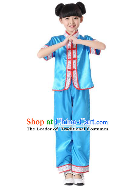 Chinese Traditional Wu Shu Clothes For Children Boys Girls Teenager Kung Fu Dress Tai Chi Tai Ji Chuan Martial Arts Uniform Complete Set Blue
