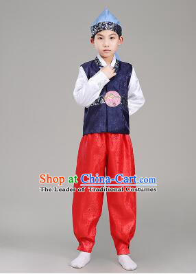 30f1cf6e5 Korean Traditional Dress For Boys Children Clothes Kid Costume Stage Show  Dancing Halloween Blue Top Red Pants