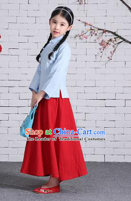 Chinese Traditional Dress for Girls Wu Si Period Student Dress Kid Children Min Guo Clothes Ancient Chinese Costume Stage Show Blue Top Red Skirt