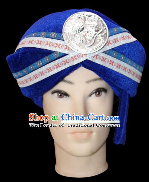 Traditional Chinese Miao Nationality Jewelry Accessories Hats, Tujiazu Ethnic Accessories, Chinese Minority Tujia Nationality Embroidery Headwear Hat for Men