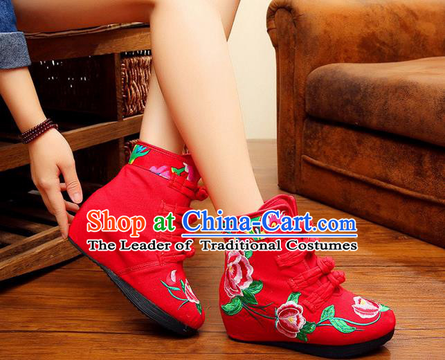Traditional Chinese Folk Dance Shoes, China Female Embroidered Shoes, Chinese Minority Nationality Embroidery Ankle Boots for Women