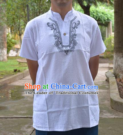 Traditional Asian Thai Male T-shirt, Thai Clothes Cotton Shirt for Men
