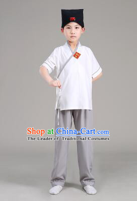 Han Fu For Children Chinese Traditional Dress Short Sleeves Stage Show Ceremonial Costumes White Top Gray Pants