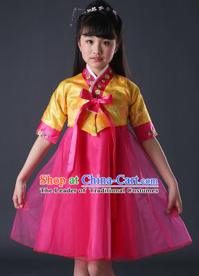 Korean Dress for Girls Children Clothes Stage Costume Formal Dress Full Attire Dancing Costume Show Yellow Top Red Skirt