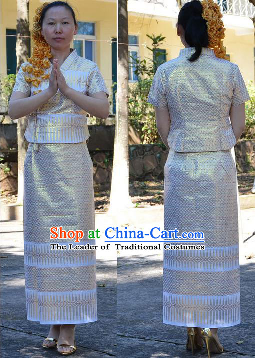 Traditional Asian Thai Costume Complete Set, Thai Waitress High Grade Silk Gold Thread Fabrics Suit for Women