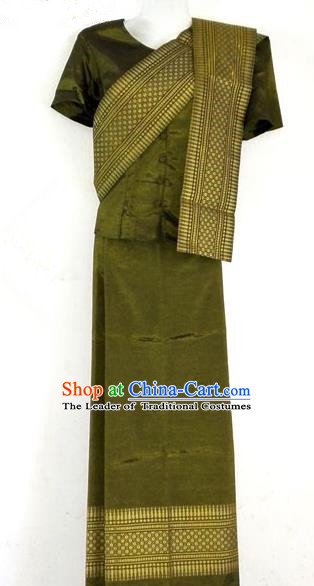 Traditional Asian Thai Costume Complete Set, Thai Waitress High Grade Silk Gold Thread Fabrics Shawl Suit for Women