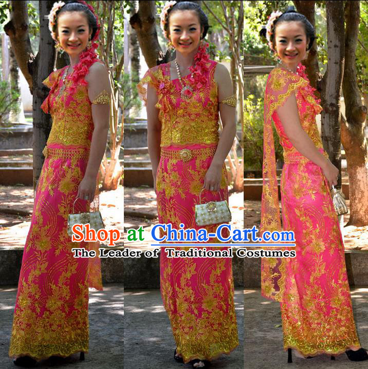 Traditional Asian Thai Palace Princess Wedding Double Gauze Costume Complete Set, Thai Shawl Royal Court Embroidery Clothing for Women