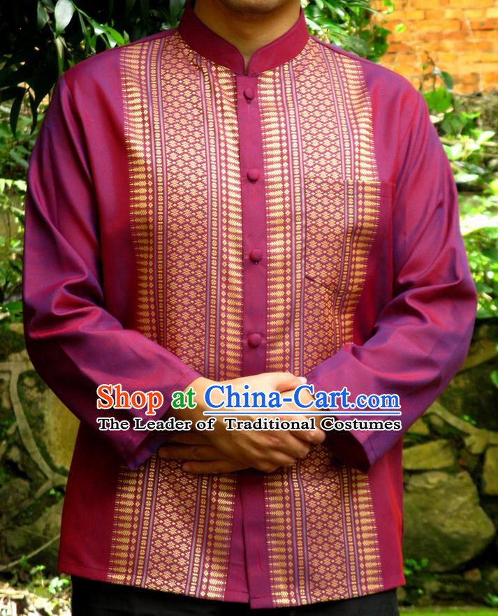 Traditional Asian Thai Palace Men Costume Skirt, Thai Royal Court Silk Dress Shirt for Men