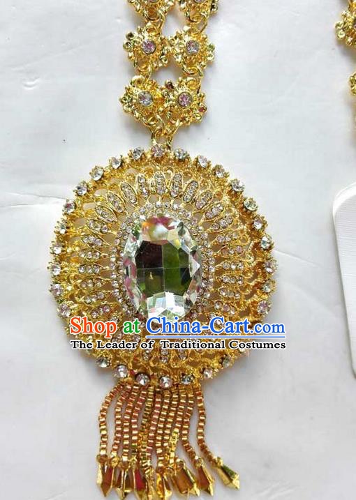 Traditional Asian Thai Jewelry Accessories Wedding Necklace, Charm Pendants Bride Sweater Chain for Women