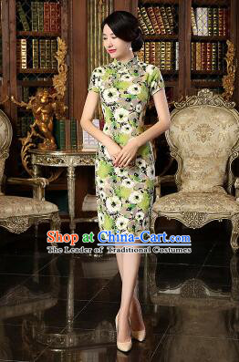 Chinese Traditional One Piece Dress Linen Short Sleeves Qi Pao Cheongsam Styel Chinese Traditional Clothes Slim Fashionable Green