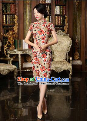 Chinese Traditional One Piece Dress Linen Short Sleeves Qi Pao Cheongsam Styel Chinese Traditional Clothes Slim Fashionable Red