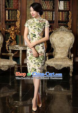 Chinese Traditional One Piece Dress Linen Short Sleeves Qi Pao Cheongsam Styel Chinese Traditional Clothes Slim Fashionable Green Flowers