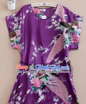 Night Suit for Women Night Gown Bedgown Leisure Wear Home Clothes Chinese Traditional Style Peacock Purple