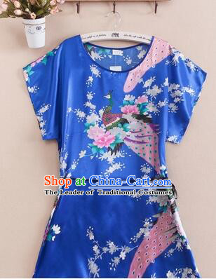 Night Suit for Women Night Gown Bedgown Leisure Wear Home Clothes Chinese Traditional Style Peacock Blue
