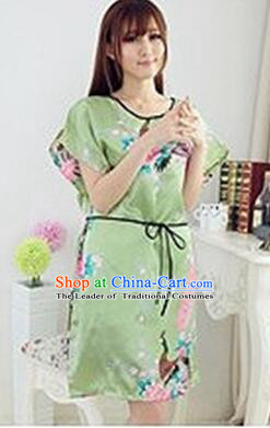 Night Suit for Women Night Gown Bedgown Leisure Wear Home Clothes Chinese Traditional Style Peacock Green