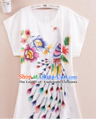 Night Suit for Women Night Gown Bedgown Leisure Wear Home Clothes Chinese Traditional Style Large Peacock White