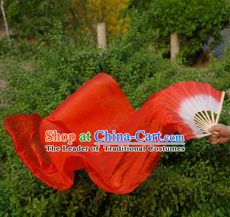 1.5 Meters Pure Silk Long Color Change Chinese Dance Folk Dance Hand Fans Yangge Dance Hand Fan Oriental Fan