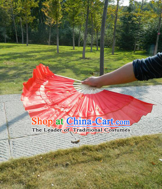 Traditional Pure Silk Color Change Gilt Edged Chinese Dance Folk Dance Hand Fans Yangge Dance Hand Fan Oriental Fan