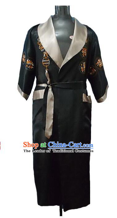 NIght Suit for Men Chinese Loong Dragon Embroidery Reversible Mock Silk Home Gown Black Gray
