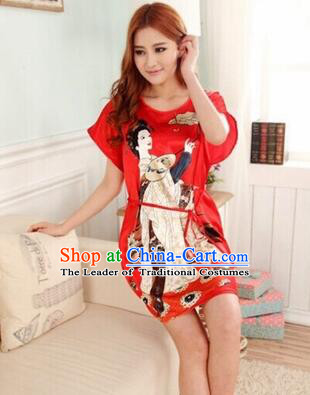 Night Gown Women Sexy Skirt Ancient China Style Chinese Traditional Beauty Pattern Night Suit Nighty Bedgown Red