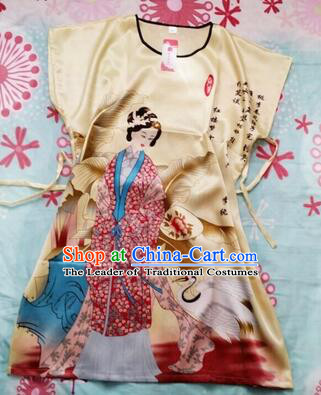 Night Gown Women Sexy Skirt Ancient China Style Chinese Traditional Beauty Pattern Night Suit Nighty Bedgown Yellow