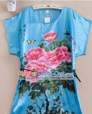 Night Gown Women Sexy Skirt Ancient China Style Chinese Traditional Beauty  Pattern Night Suit Nighty Bedgown Peony Blue 21ef4d2c1