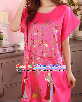 Night Gown Women Sexy Skirt Ancient China Style Chinese Traditional Chinese Guiana Chestnut  Night Suit Nighty Bedgown Red
