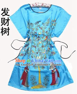 Night Gown Women Sexy Skirt Ancient China Style Chinese Traditional Chinese Guiana Chestnut  Night Suit Nighty Bedgown Blue