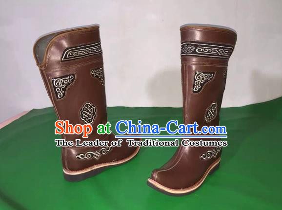 Traditional Chinese Minority Mongol Nationality Ethnic Minorities Mongolian Cowhide Boots Mongolian Knee Embroidery Boots Jockey Boots Tanks Boots for Men