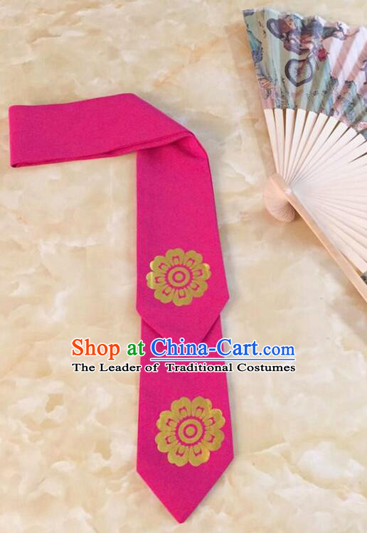 Korean Hair Band for Women Hair Strap Ties Headwrap Kerean Traditional Hot Stamping Bronzing Rose Red