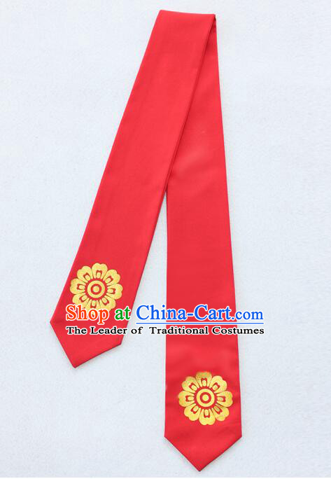 Korean Hair Band for Women Hair Strap Ties Headwrap Kerean Traditional Hot Stamping Bronzing Red