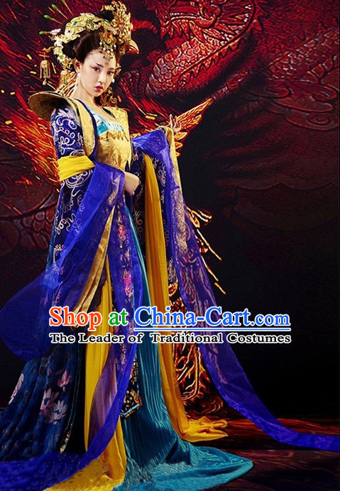 Chinese Ancient Film Tang Dynasty Costumes Princess Clothes and Coronet Complete Set for Women