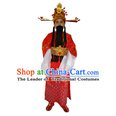 Ancient Chinese God Of Wealth Costume Accessories Set Cai Shen New Year Celebration Clothing Caishen Dress For Men