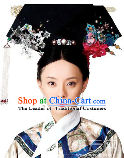 Acient Chinese Headwear, Traditional Qing Dynasty Hat, Legend Of Zhen Huan Headdress Suit, Large Heads Of La Fin Flag Plus Accessories Empress Tire Costume, Studio Props Cast Performance For Women