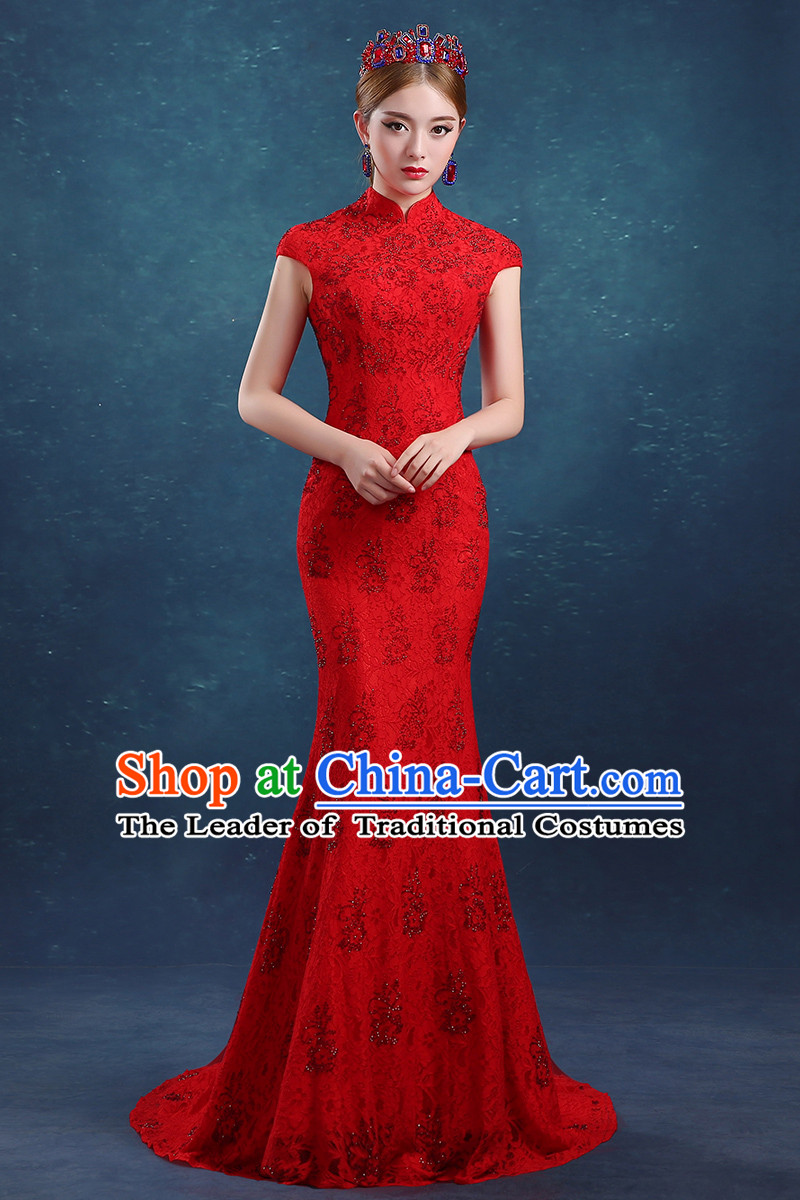 Ancient Chinese Bride Toast Clothing Cheongsam, Red Long Fishtail ...