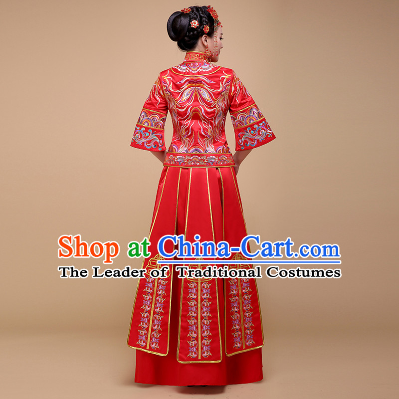 Ancient Chinese Costume Chinese Style Wedding Dress Red Ancient Dragon And Phoenix Flown Bride Toast Clothing For Women