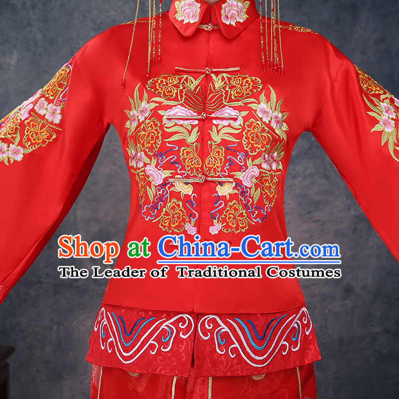 Ancient Chinese Costume Xiuhe Suits Chinese Style Wedding Dress Red Restoring Ancient Women Longfeng Dragon And Phoenix Flown Bride Toast Cheongsam