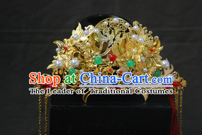 Chinese Ancient Style Hair Jewelry Accessories, Hairpins, Headwear, Headdress, Hanfu Hair Fascinators Xiuhe Bride Wedding Accessories for Women
