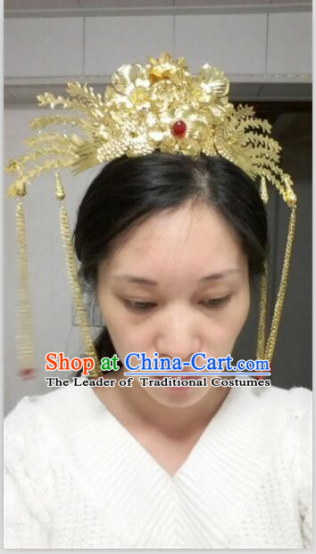Ancient Chinese Palace Imperial Empress Handmade Phoenix Wedding Hair Accessories For Women