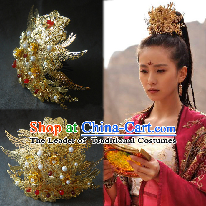 Chinese Ancient Style Hair Jewelry Accessories, Hairpins, Headwear, Phoenix Headdress, Hanfu Hair Fascinators Bride Wedding Accessories for Women