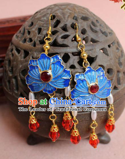 Ancient Chinese Style Imperial Palace Empress, Queen Wedding Cloisonn Earrings For Women