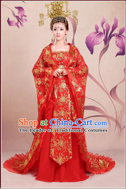 Ancient Chinese Palace Empress Costumes Complete Set, Hanfu, Tang Dynasty Ancient Palace Queen Wedding Dress For Women