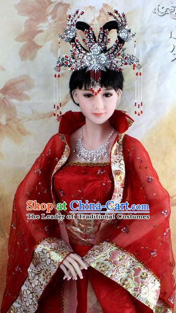 Chinese Ancient Style Hair Jewelry Accessories, Hairpins, Tang Dynasty Wedding Bride Imperial Empress Princess Handmade Phoenix for Women