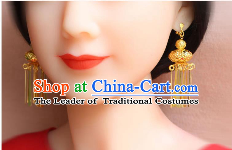 Ancient Chinese Style Imperial Palace Empress Queen Blueing Earrings