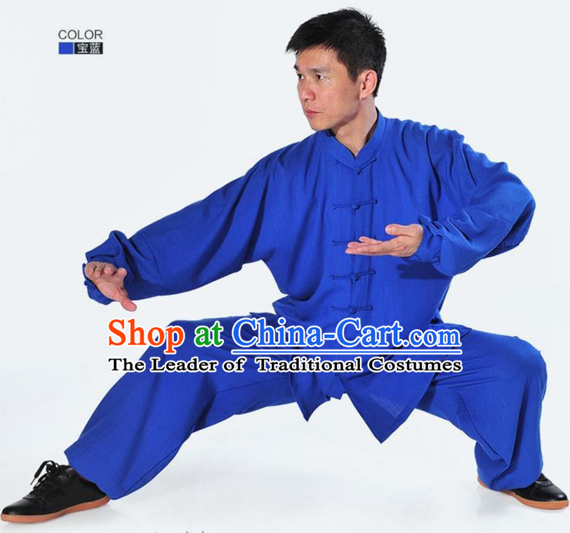 Blue Top Kung Fu Flax Costume Jacket Uniform Martial Arts Clothes Shaolin Uniform Kungfu Uniforms Supplies for Men Women Adults Kids