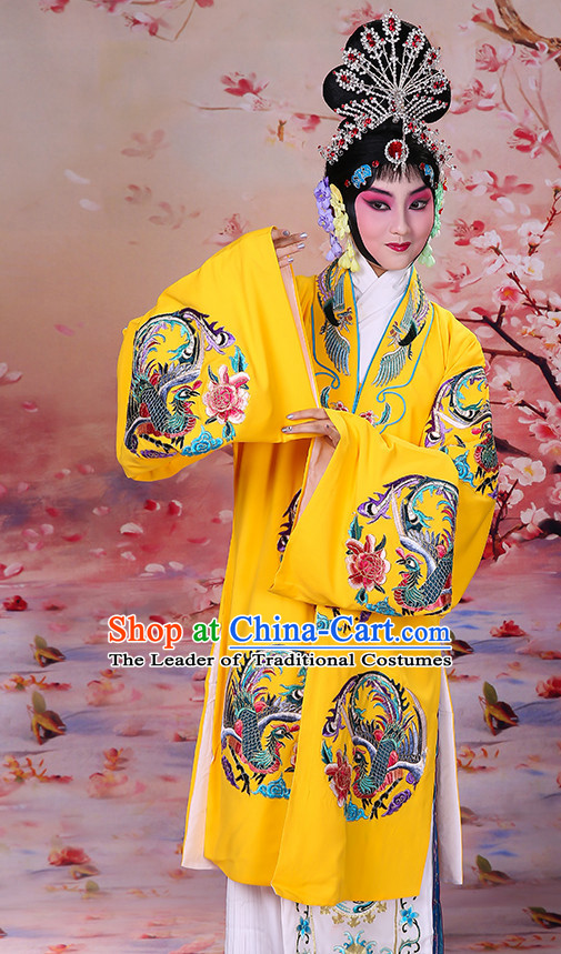 Chinese Classical Opera Hua Dan Queen Empress Princess Embroidered Phoenix Costumes