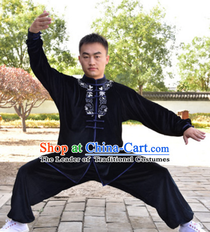 Black Top Kung Fu Velvet Clothing Mandarin Costume Jacket Martial Arts Clothes Shaolin Uniform Kungfu Uniforms Supplies for Men Women Adults Children