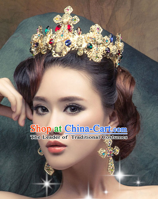 Traditional Chinese Style Princess Empress Queen Brides Wedding Headpieces Hair Fascinators Jewelry Decorations Hairpins Phoenix Crown Coronet