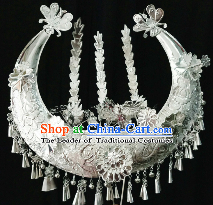 Traditional Chinese Miao Princess Empress Queen Brides Wedding Headpieces Hair Fascinators Jewelry Decorations Hairpins Phoenix Crown Coronet